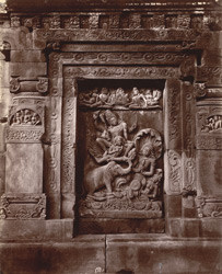 Sculpture panel on the north face of the Dashavatara Temple, Deogarh: Vishnu on Garuda rescuing the elephant Gajendra
